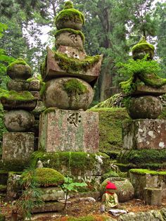 koyasan cemetery in japan - each of the graves seems to be more of a celebration of life as each blends in to the beautiful moss with the trees towering above, all intertwined as if each depended on the other