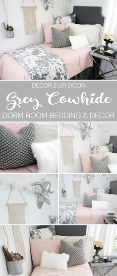 HOLY COW - this blush and grey cowhide dorm bedding collection has us moo-ing for more! Our fabulous grey faux-cowhide is complimented with grey textures, ivory fur, and of course - blush pink. This look is a show stopper!