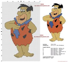 Fred Flintstone free cross stitch pattern 59 x 100 stitches