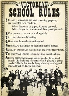 Take a look at some of these retro school rules, and then you will probably be thankful you weren't a teacher back in the day. Victorian History, Victorian Life, Victorian Era Facts, Old School House, School Days, Vintage Modern, Writing Tips, Writing Prompts, Playground Rules