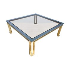 Italian Mid Century Brass and Chrome Coffee Table