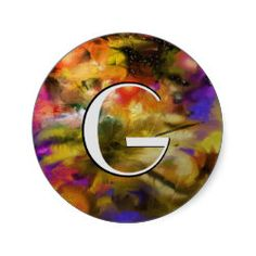 """""""Where Stars are Born"""" - Abstract Round Sticker. Change the letter to your own initial. Cool gifts with many uses."""