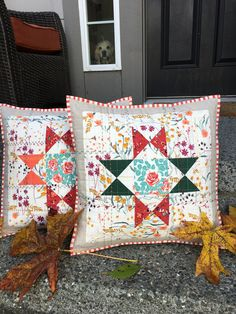 "#AurifilArtisan Karen Brandt O'Connor of Lady K Quilts created these two beautiful pillows for the AGF Quilt Block Tour Of Makers hosted by Color Girl Quilts! Karen used Art Gallery Fabrics Woodland Fusions + Denim Studio fabrics for the pillows, and then added quilting and decorative stitching using Aurifil thread.   ""I selected a number of different colors that complimented the colors in my pillows; #Aurifil 2460, 1135, 2850, & 1158. Using a variety of decorative stitches on my Janome…"