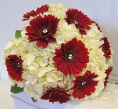 Bridal bouquet with red gerbera daisies and white hydrangea Pink Hydrangea Wedding, Wedding Flowers, Bridesmaid Bouquet, Bridesmaids, Prom Corsage, Gerbera Daisies, Marry You, Bouquets, Custom Design