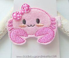 Pink Crab Hair Clip Crab Hair Clip Girls Hair by DiddlebugsAndMe