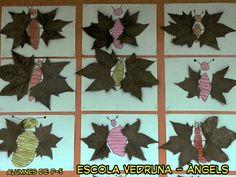 Activitat de plastica amb fulles de tardor feta per alumnes de P-5 de l'escola Vedruna-Àngels (Barcelona)
