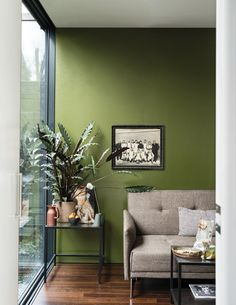 British paint manufacturer Farrow & Ball has expanded its extensive color card with nine new shades. Carefully chosen to balance Farrow & Ball'. Living Room Plants, Living Room Green, Paint Colors For Living Room, Bedroom Colors, Living Spaces, Green Paint Colors, Wall Colors, Green Wall Color, Green Room Colors