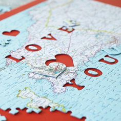 personalised location 'love you' map jigsaw by thelittleboysroom   notonthehighstreet.com