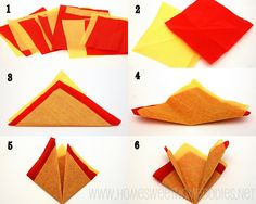 How to fold tissue paper to look like a campfire. Blue and Gold Banquet centerpiece.