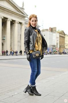 Black biker jacket, fur top & denim