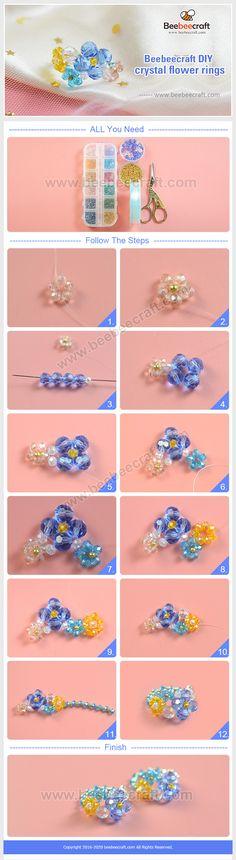 #Beebeecraft idea on making #crystal flower #rings. #jewelry #jewelrymakingsupplies #supplies #crafts #diy #jewelrymaking Macrame Bracelet Patterns, Beaded Jewelry Patterns, Diy Jewelry Projects, Jewelry Crafts, Jewelry Making Beads, Jewelry Making Supplies, How To Make Rings, Diy Crystals, Bead Store