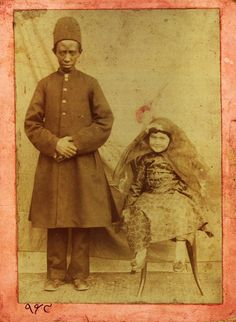 Qajar Dynasty Iranian young aristocrat with her unnamed African eunuch personal servant