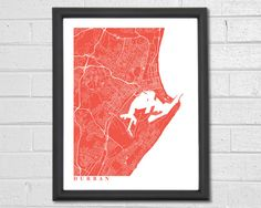 Durban Map Art  Map Print  South Africa  by TheMapCollection