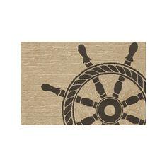 Trans Ocean Imports Liora Manne Frontporch Ship Wheel Indoor Outdoor Rug, Black