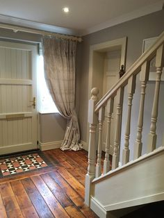 Stairs and hallway ideas · farrow & ball elephant's breath - i really like the front door hallway curtains, Hallway Curtains, Front Door Curtains, Hallway Flooring, Hallway Paint, Wood Flooring, Style At Home, Cottage Hallway, Cottage Staircase, Hallway Colours
