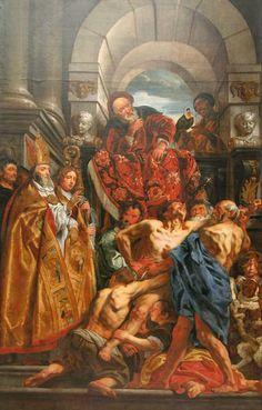Saint Martin guérissant un possédé. Jacob Joardens. XVIIe.