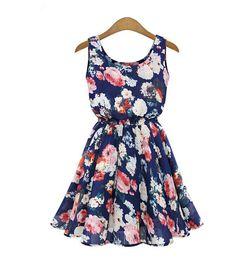 Floral Above Knee Sleeveless Pleated Dress