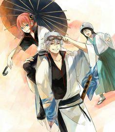 Kagura, Gintoki, Shimura, umbrella; Gintama