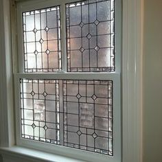 """Stained Glass 3-Piece Window - """"Elegant Privacy"""" custom made by Terraza Stained Glass a more expensive solution for shower window"""