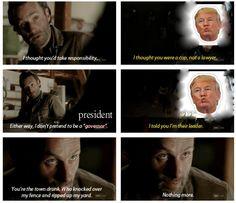 Rick Grimes talking to Trump, bahahaha
