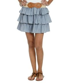 Wet Seal Women's Triple Tiered Chambray Skirt S Chambray Wet Seal. $15.00
