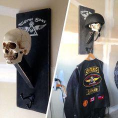A MC member's idea of custom vest & helmet rack....SWEEEET Motorcycle Gifts, Motorcycle Shop, Motorcycle Garage, Motorcycle Man Cave Ideas, Motorcycle Helmets, Motorcycle Equipment, Motorcycle Workshop, Motos Bobber, Biker Bar