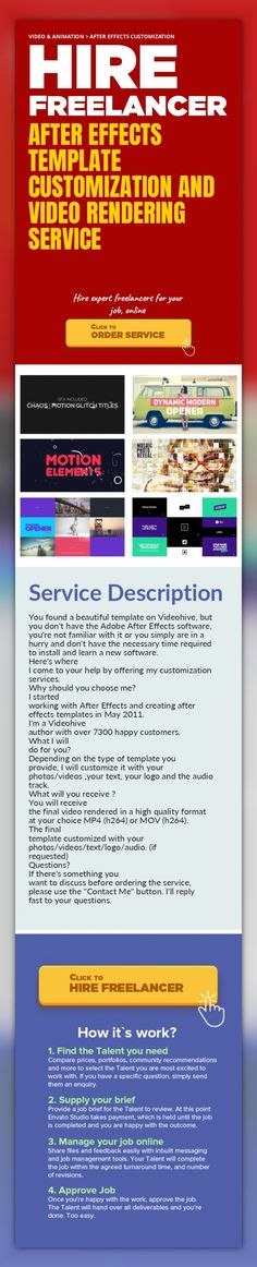 After Effects Template Customization and Video Rendering Service Video & Animation, After Effects Customization   You found a beautiful template on Videohive, but you don't have the Adobe After Effects software, you're not familiar with it or you simply are in a hurry and don't have the necessary time required to install and learn a new software.  Here's where I come to your help by offering my cu...