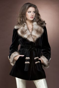 Black Sheared Mink and Stone Marten Mid-Length Fur Coat