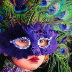 Titti Garelli Titti Garelli was born in Turin, Italy. She studied. Peacock Mask, Peacock Colors, Peacock Print, Mask Face Paint, Les Fables, Mardi Gras Costumes, Venetian Masks, All Things Purple, Masquerade Ball