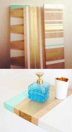 Mint + Gold painted shelves