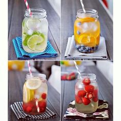 Take a jar, fill it with water and your favorite fruits, leave it over night and in the morning you'll have fresh, fruit-flavored water! I would drink water a lot more if I did this.