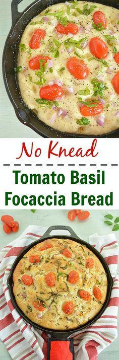 No Knead Tomato Basil Focaccia Bread is super light and yum! Topped with cherry tomatoes, basil and herbs, this bread is a perfect complement to a great dinner. Above all it takes just one hour to make from start to finish.