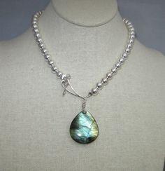 Labradorite Gemstone Pendant, Sterling Silver Beads Necklace!! | GoGemCreations - Jewelry on ArtFire