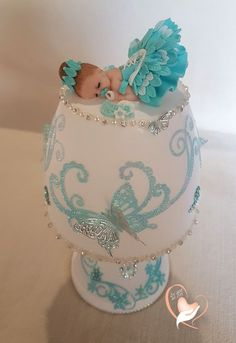 Baby Shower Cake Turquoise baby girl white bedside lamp – at the heart of the arts – Children – A … Fancy Cakes, Cute Cakes, Beautiful Cakes, Amazing Cakes, Bolo Artificial, Baby Christening Cakes, Baby Mold, Baby Cake Topper, Fondant Baby