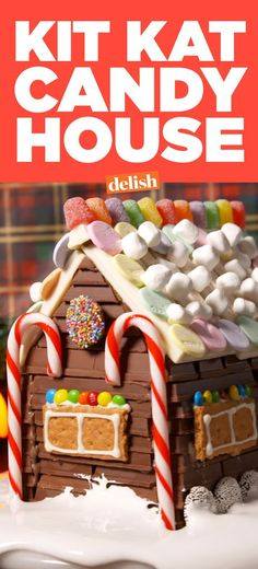 This Kit Kat Candy House Will Turn You Away from Gingerbread Houses Forever Cookie House, House Cake, Gingerbread House Candy, Gingerbread Recipes, Gingerbread Ornaments, Kit Kat Recipes, Kit Kat Candy, Biscuit, Candy House
