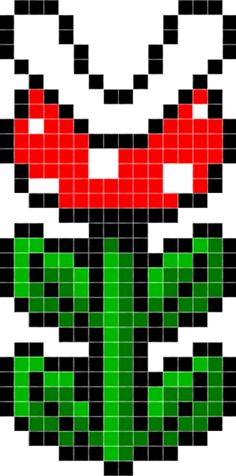 Pixel Mario Flower | Free Super Mario World Bead Art Piranha Plant Pattern