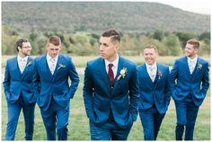 Burgundy wine red tie and navy suit, groomsman floral ties