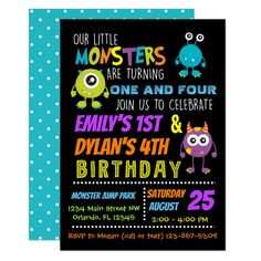 Our Little Monsters Joint Birthday Party Invite - birthday cards invitations party diy personalize customize celebration Combined Birthday Parties, Sibling Birthday Parties, Joint Birthday Parties, Construction Birthday Parties, Boy First Birthday, Birthday Party Themes, Birthday Cards, Birthday Ideas, Birthday Fun