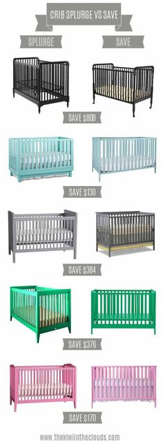 Splurge vs. Save: Nursery Cribs in color. Find the perfect crib for every price point!