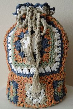 Crochet Granny Square Backpack- I think I could figure this out-