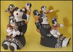 Judy Lewis - Acoma Pueblo Storyteller  Pueblo Pottery Clay Storyteller Dolls   from Jemez and Acoma Pueblo