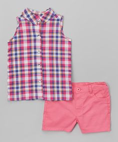 Fuchsia Plaid Button-Up Tank & Shorts - Infant, Toddler & Girls #zulily #zulilyfinds