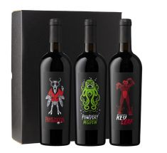 Our latest creation: Terrors of the Terroir, a rich, red Napa Valley blend offered in a set of three unique designs, each representing one of a vineyard manager's worst nightmares: phylloxera (a louse that feeds on vine roots), powdery mildew (a fungus that can infect grapes), and red leaf (a virus that attacks vines).