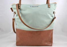 Canvastaschen - Canvastasche ELLA mint/rehbraun - ein Designerstück von Schwedenmaedchen-bags-and-more bei DaWanda