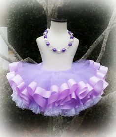 Purple ribbon and lace trimmed tutu set available on www.etsy.com/shop/cutiecakestutus