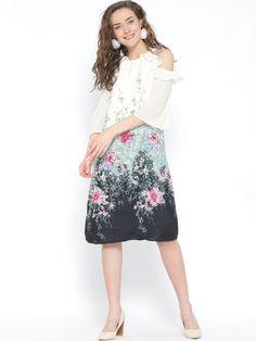 White & Navy Printed A- Line Dress Cute Short Dresses, Nice Dresses, Summer Dresses, Online Shopping For Women, Womens Fashion Online, New Dress, Dresses Online, Navy, Clothes For Women