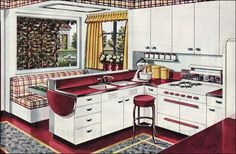 """As part of the New Freedom Gas Kitchen advertising campaign, the American Gas Association publish this kitchen design called the """"Breakfast Booth Kitchen."""" The burgundy, gray, and gold color scheme was very new in 1945 and departed from many of the old standbys.    I want a booth!"""