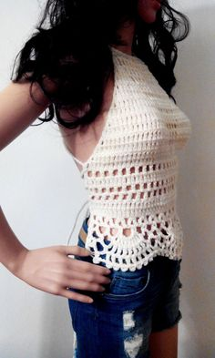CREAM CROCHET TOP Halter Bandeau Corset Bustier Summer by EliSmile