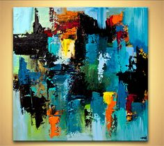 colorful blue abstract art modern palette knife