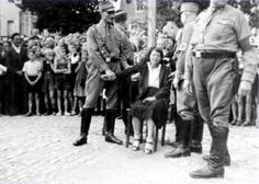 Public humiliation was often the go-to weapon of the Nazi Party to persuade the public to follow their ideals. This woman here was shamed and punished publicily for having a relationship with someone the State considered untermensch, or subhuman—most likely Jewish.After this photograph was taken, the officials most likely shaved her head and stripped her to her undergarments.